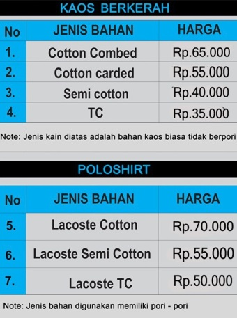 Harga Kaos Termurah di Surabaya